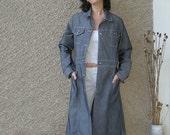 ON SALE: Vintage Grey Denim Long Coat size S