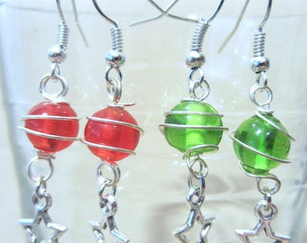 Silver Wire Wrapped Glass Bead Pierced Earrings with Silver Star Charms, Handmade Original Fashion Jewelry, Bright Unique Christmas Ornament