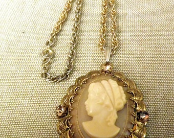 Huge, Cameo pendant, off white and taupe, topaz stones, antique gold finish, 1970s, Vintage, choker necklace, Steampunk, costume, Theater