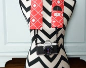 DSLR Camera Strap Cover- lens cap pocket and padding included- Coral Quatrefoil