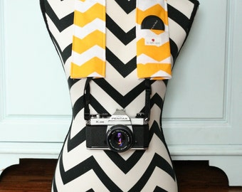 Camera Strap Cover- lens cap pocket and padding included- Yellow Chevron
