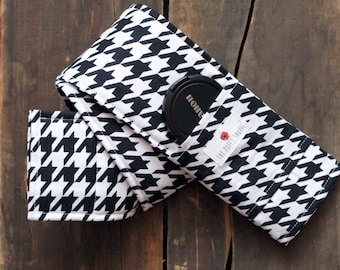 DSLR Camera Strap Cover- lens cap pocket and padding included- B&W Houndstooth