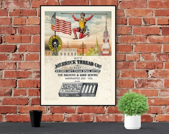 Antique Inspired Merrick Mustache Tightrope Walker Art Print / Poster Vintage 18 x 24 Museum Quality Matte