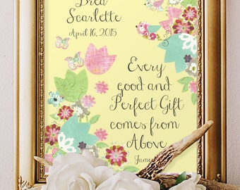 BABY GIRL BAPTISM, Godparents dedication gift, Personalized Godchild, Scripture wall art, Floral Christian 8x10 Print, Bible verse decor