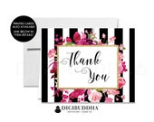 THANK YOU CARDS Folded A2 Thank You Card Black & White Fuchsia Note Wedding Thank You Bridal Shower Instant Download DiY Printable - Christy