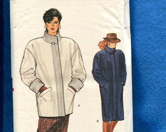 1980's Vogue 8803 Tapered Coats with Drop Shoulders  Quilted Neck & Sleeve Bands Size 10
