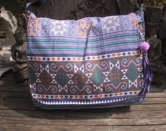 Hmong Cross Stitch Print Messenger Bag