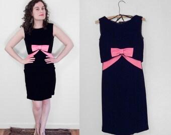 60s BOW Dress 2 Piece Set Sleeveless Hot Pink Satin Black Velvet Size Small