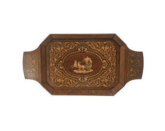 Vintage Marquetry Tray with Music Box Handle