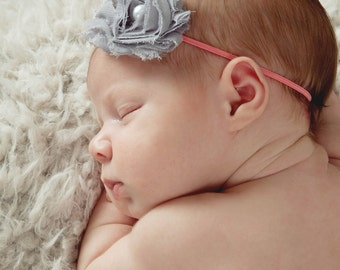 Coral Baby Headband, Coral Baby Bow, Coral Newborn Headband, Coral and Gray Baby Headband, Newborn Headband, Skinny Elastic Baby Headband