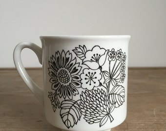 retro black Floral 'Manitou' design on white cup from Grindley England