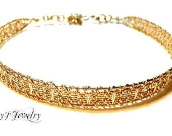 Gold wire choker, Handmade 14kt gold woven choker, Gold collar, Handmade woven collar