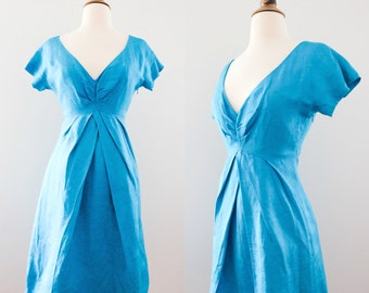 1970s Teal Plunging Neckline Dress // 70s Blue Turquoise Wiggle Dress