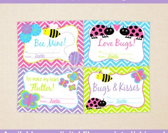 Bug Valentines Cards - Personalized Valentines Cards - Classroom Valentines - Digital and Printed Available