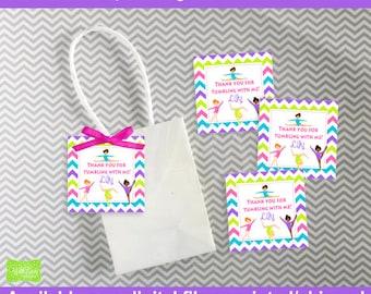 Gymnasitcs Favor Tags - Gymnastics Thank You Tags - Gymnastics  Gift Tags - Tumbling Favor Tags - Digtal & Printed