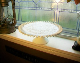 Large Milk Glass Cake Stand Vintage Fenton Spanish Lace with Crimped Edge 1960s