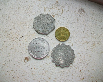 4 South Dakota and NY Trade Tokens Woonsocket Alcester Albany Vintage Coins