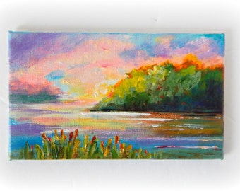 "Landscape, ""AT SUNSET 3"", Original Painting, Mini Painting, 3x5, Office Decor, Sunset Painting,Home Decor"