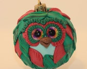 Holly - Polymer Clay Owl Ornament