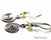 Sterling Silver Spiral Earrings with Peridot
