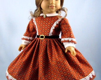 1860s Civil War Era Dress - fits American Girl Doll - 18 Inch Doll Clothes - Rusty Red and Gold - Cecile - Marie Grace