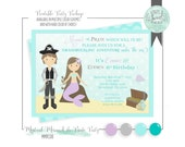 Pirate & Mermaid invitation. Printable Birthday Party PDF file 5x7 invitation. Silver Pirate Purple Mermaid. Other color schemes available