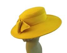 Yellow Wide Brim Felt Hat Wool Hat Women Hats For Women Sun Hats Winter Church Fancy Hats Sylvia Vintage Hats