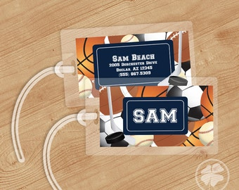Sports - Luggage Tag, Bag Tag, Backpack Tag, ID Tags, Personalized, Custom