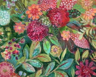 Lush 24x24 ORIGINAL Acrylic on Board, Contemporary Floral by Carrie Tasman