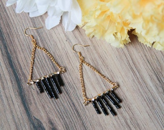 Gold and Black Beaded Triangle Dangle Earrings