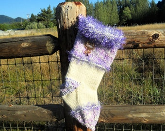 Jeweled Lavender and Cream Knit Christmas Stocking with Purple Stone Brooch