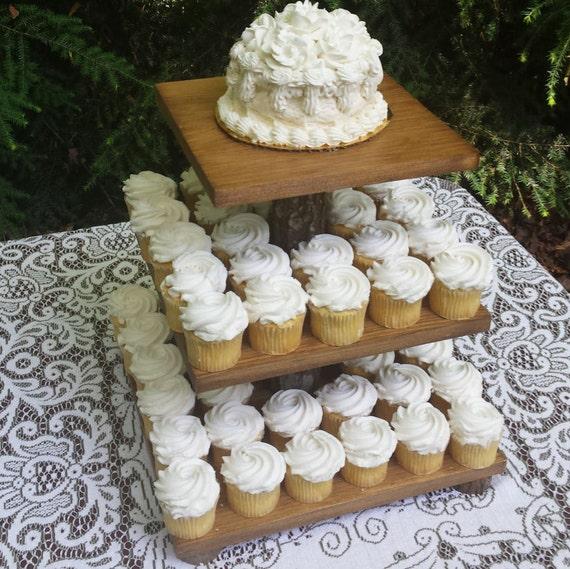 Cupcake Stand, Rustic Cupcake Stand, Cake Stand, Rustic Wedding, 3 Tier Stand, Log Cupcake Stand, Wood Cupcake Stand, Square Cupcake Stand