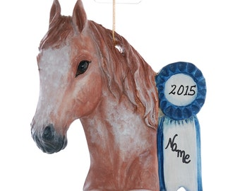Red Roan Show Horse Christmas Ornament Personalized Free your choice of name and or year made in America from resin   (218)