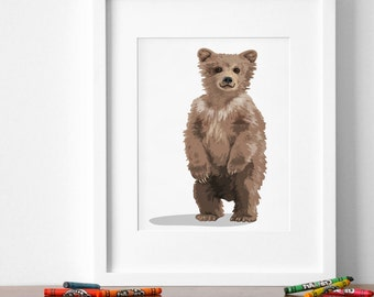 bear cub art print, baby forest animal print, childrens bear illustration - grizzly bear nursery art, woodland nursery artwork