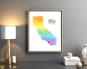 California or ANY STATE Rainbow Map - Custom Personalized Heart Print - Gay LGBT Wedding Gift - Hometown Wall Art - Watercolor Series