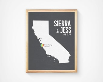 California or any state RAINBOW HEART Personalized Wedding Art Map Print, Gay LGBT Lesbian wedding Pride gift present geustbook guest book