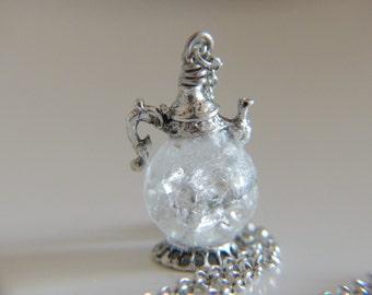 Teapot Charm Necklace - teapot pendant - with cracked transparent marble