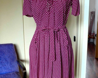 Absolutely Fabulous Maternity 1940's Rayon Dress Purple and Cream Polka Dots Size S