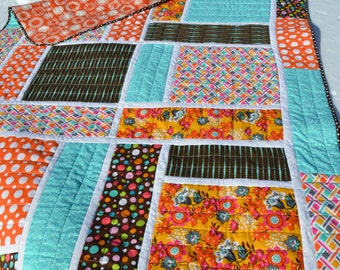 Modern Graphic Quilt Handmade Brown and Blue and Orange Throw Size Funky Teen Tween Lap Mod Hippie Patchwork Quilt