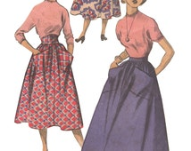 Advance 5426 Vintage 1950s Sewing Pattern Teen Junior Size 13 Waist 25 1/2 Below Knee Gathered Skirt Pockets