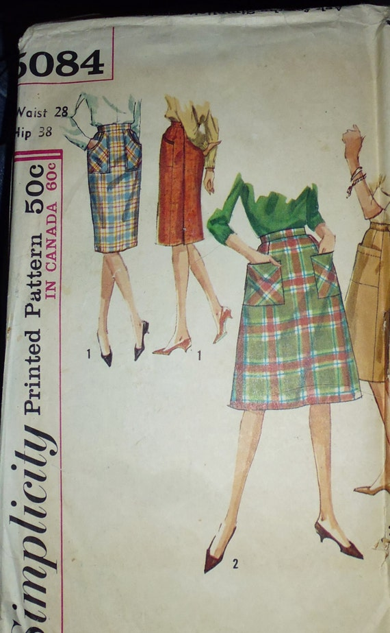 simplicity 5084 wrap skirt pattern slim wrap skirt 1960s