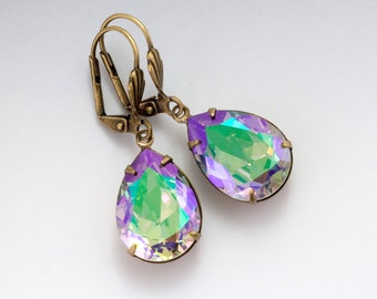 Purple and Green Iridescent Earrings, Swarovski Crystal Dangle Earrings Drop, Purple Rhinestone Earrings, Purple Crystal Jewelry, Eurynome