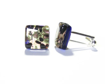 Murano Glass Black Green Gold Square Cuff Links, Tie Accessories, Italian Glass Jewelry For Men, Venetian Glass Cuff Links, Gifts For Him