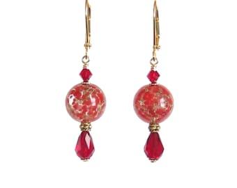 Murano Glass Red Earrings, Leverback Earrings, Crystal Drop Earrings, Gold Filled Leverbacks, Red Glass Earrings, Red Copper Earrings