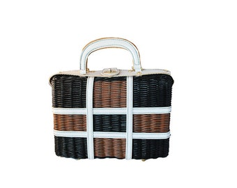 Wicker Handbag, Brown & Black Color Block, White Patent Leather Trim, Hong Kong, Vintage 1960s