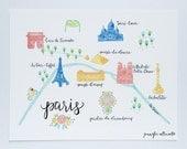 Paris map illustration art print hand lettering wall art