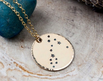 Pisces constellation zodiac necklace. Gift for her. Gold zodiac constellation necklace. Pisces zodiac necklace. Pisces birthday gift. RTS