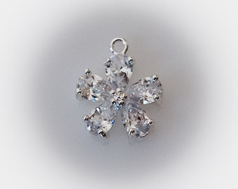 STORE CLOSING! ChrmS341 - Silver and Clear CZ Flower Charm Pendant