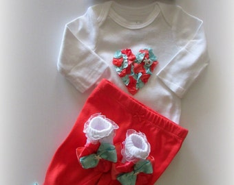 Baby Girl Aqua Mint Coral Complete Pant Set, Newborn Girl Take Home Outfit, Seashell Mermaid Baby Girl Clothing Set, Girl Shower Gift Set