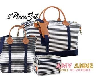 Navy Stripe Monogrammed Travel Luggage Set Canvas Weekender Satchel Duffle Bag Pink or Gray Trim with Leather Handles Luggage